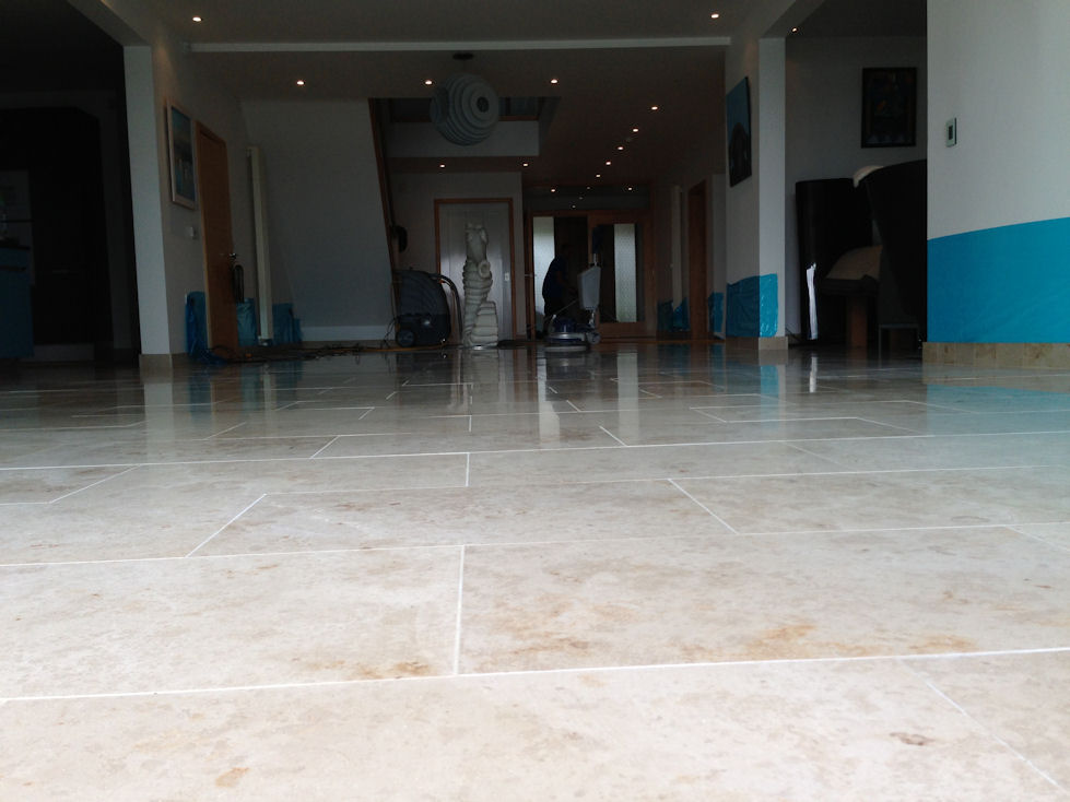 Polishing limestone floors